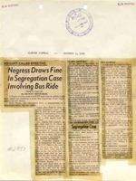 News clipping annotated with bus number